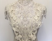 White and cream lace bridal collar with beaded epuelttes boho - ready to ship