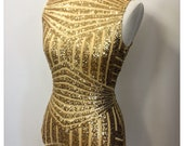 Sequin geometric lycra body suit - available in gold, black and silver