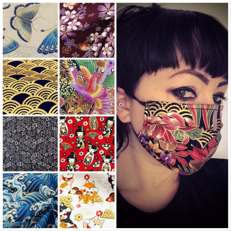 Japanese cotton reusable eco face mask covering with filter image 0