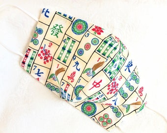 Mahjong fabric 100% cotton washable Mah Jongg Joker 3 Layers adult Face mask with filter pocket fits PM 2.5 nose wire Blue Cream 2 layers