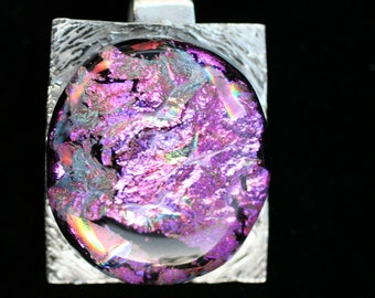 Pretty in Pink PMC and Dichroic Glass Pendant, Fused Glass Pendant with Silver, Art Glass Pendant with Silver, Dichroic Jewelry, Artisan