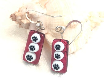 Artisan Dog Paw Fused Glass Earrings, Red Dog Lover Gift Art Glass Jewelry, Dichroic Glass Sterling Ear wires Dog Earrings, OOAK