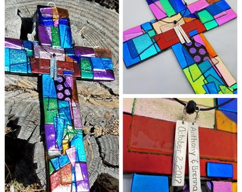 Made to Order Large Personalized Dichroic Glass Cross Wall Hanging, Large Mosaic Fused Glass Cross Art, Wedding Cross Baptism Confirmation