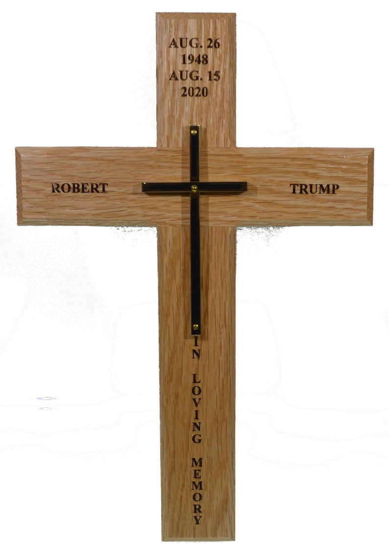 Oak and Brass Memorial Cross w/Obituary engraved on back   image 0