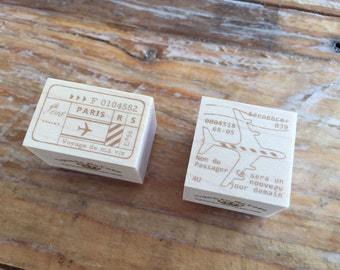 Japanese Wooden Rubber Stamps - Vintage Airmail Postage Stamps for Journaling, Scrapbooking, Packaging