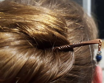 Twisted copper hair stick with beaded bling