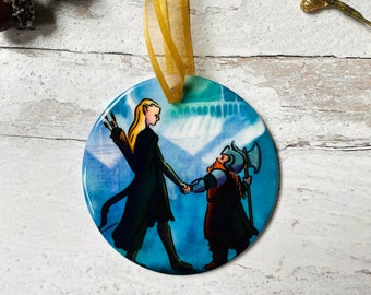 Legolas and Gimli Lord of the Rings Round Ceramic Christmas Ornament
