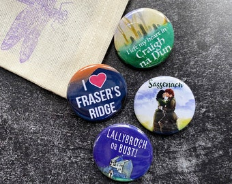 Set of 4 Outlander Button Pins with Dragonfly Gift Bag