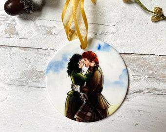 Jamie and Claire Fraser Outlander Round Ceramic Christmas Ornament