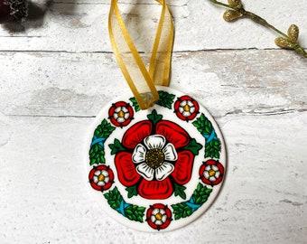 Tudor Rose Round Ceramic Christmas Ornament