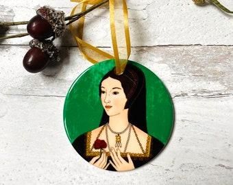 Anne Boleyn Round Ceramic Christmas Ornament