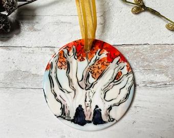 Game of Thrones Weirwood Tree Round Ceramic Christmas Ornament
