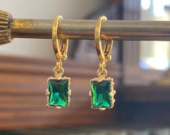 Emerald Green Rectangle Jewel Huggie Hoop Earrings