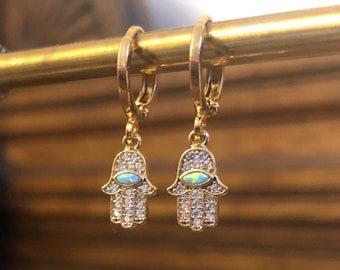 Crystal & Opal Hand Of Fatima Hamsa Huggie Hoop Earrings