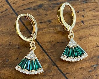 Art Deco Emerald Fan Huggie Hoop Earrings