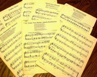 vintage papaer .. old large page SHEET MUSIC  for your crafting fun american patrol titles grp ...