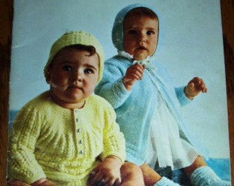 vintage knit crochet patterns ... Beehive BABY STYLES Patons Patterns leaflet pattern ...