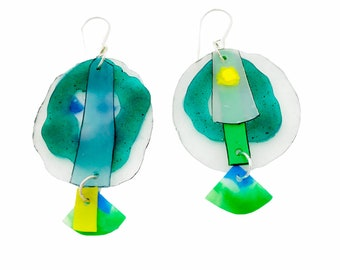 Recycled graphic earrings