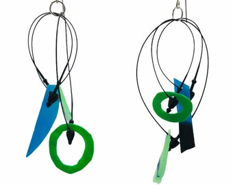 Recycled  triangle earrings