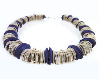 Piano wire  and blue ceramic necklace
