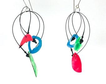 Recycled  dangle earrings
