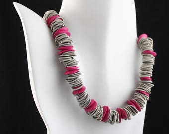 Piano wire  and pink ceramic