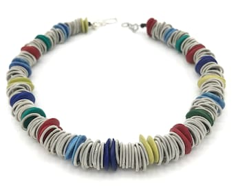 Piano wire and multi-coloured ceramics necklace