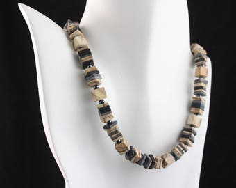 Statement necklace, jasper necklace, art deco necklace,