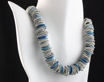 Ceramic and piano wire necklace, statement necklace