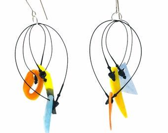 Recycled plastic  dangle earrings