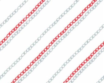 1 yard Sew Stitchy Redwork Needle chain stitch low volume cotton by Aneela Hoey for Moda 18546 12