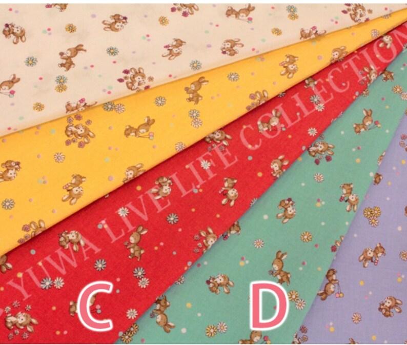 Fat quarter Yuwa Live Life Sunday 9 am aqua bunny Japanese quilt fabric zakka Atsuko Matsuyama