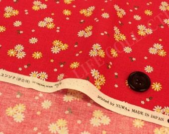Sunday 9 am petit daisy red Yuwa Japan - zakka quilt cotton