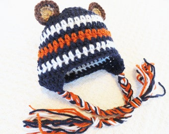 Chicago Bears Beanie Hat Beary Cute Hat Crocheted Chicago Bears Inspired Baby Beanie Photo Prop with Ear Flap Tassels  By Distinctly Daisy