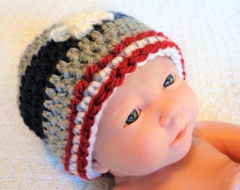 Patriots Football Beanie Hand-crocheted New England Patriot Beanie Football Fan Hat with Star and Stripes By Distinctly Daisy