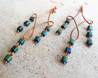 Iridescent Green Blue Square Beaded Copper Earrings Wire-wrapped Handmade Dangle Beaded Chandelier Earrings By Distinctly Daisy