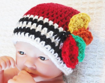 Chicago Blackhawks Beanie Baby Blackhawks Beanie Hand-crocheted Chicago Blackhawks Hockey Hat with Feathers and Stripes By Distinctly Daisy