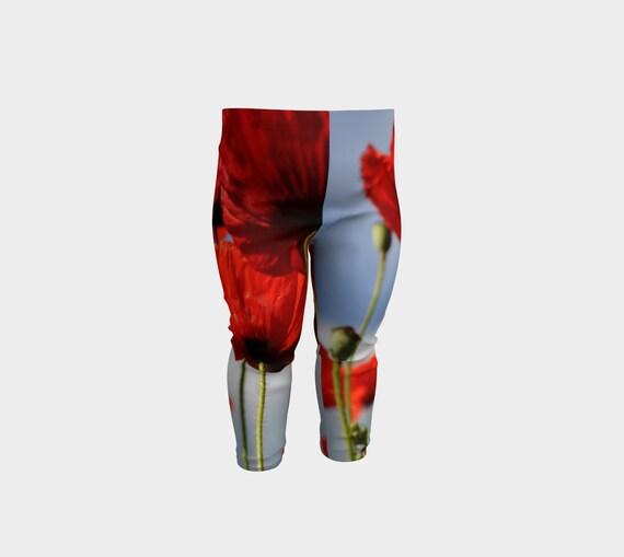 Red Poppies Field Kids Leggings