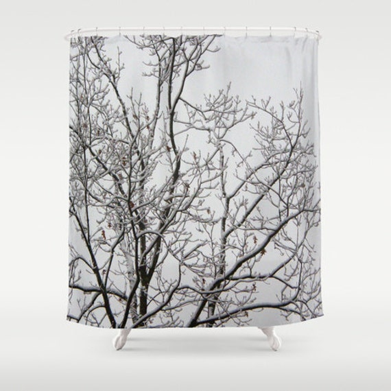 Fabric Shower Curtain Tree Branches White Snow