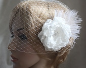 Bandeau Birdcage Wedding Veil and detachable Fascinator Vintage inspired Blusher hair flower  Diamond white