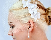 On Sale - Bling-bling bridal Birdcage Veil and Crystal hair comb - 2 items