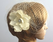 Birdcage veil Vintage inspired Blusher and Detachable Bridal Fascinator Magnolia Wedding Reception - Acelin
