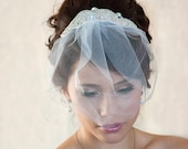illusion tulle Birdcage Veil  with Crystal rhinestone applique - VI02