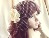 Birdcage Veil and detachable flower hair clip  Vintage inspired Blusher  in ivory or white