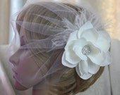 illusion tulle Birdcage veil Blusher Fascinator vintage inspired