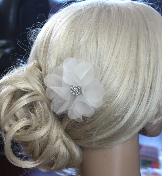 One Silk Organza Flower Hair Clip For Wedding Reception Bridal