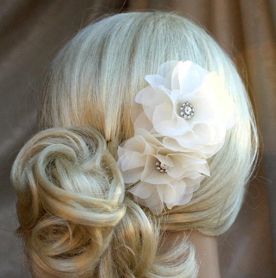 Silk Organza Flowers Hair Clip For Wedding Reception Bridal Etsy