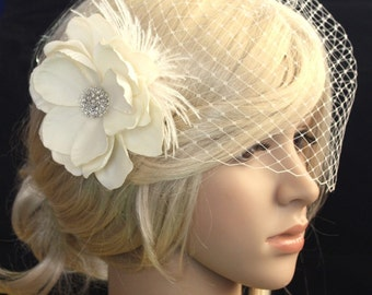 Bridal Birdcage veil Blusher and flower (Evelyn)  - 2 items