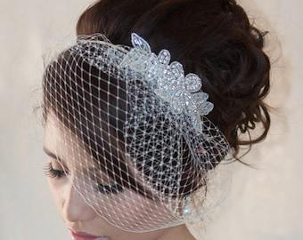 Wedding Birdcage Veil with Crystal rhinestone applique VI04.