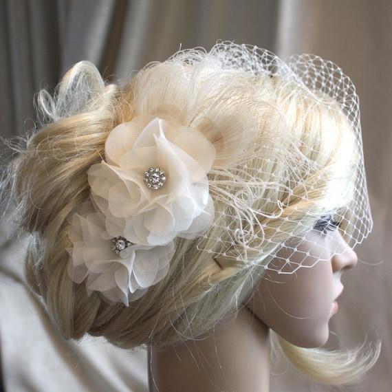 Handmade Ivory Silk Organza Flowers Hair Clip And Birdcage Etsy